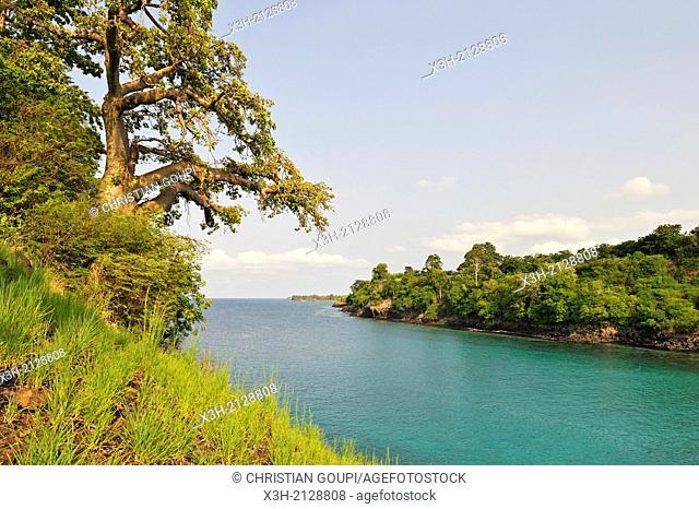 small cove Lagoa Azul on the north coast of Sao Tome Island, Republic of Sao Tome and Principe, Africa