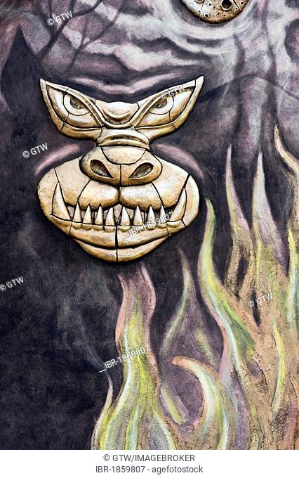 Painted dragon, monster, Remedios, Santa Clara Province, Cuba, Central America