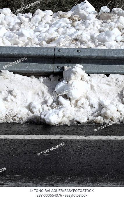 Snow asphalt winter road border steel traffic fence
