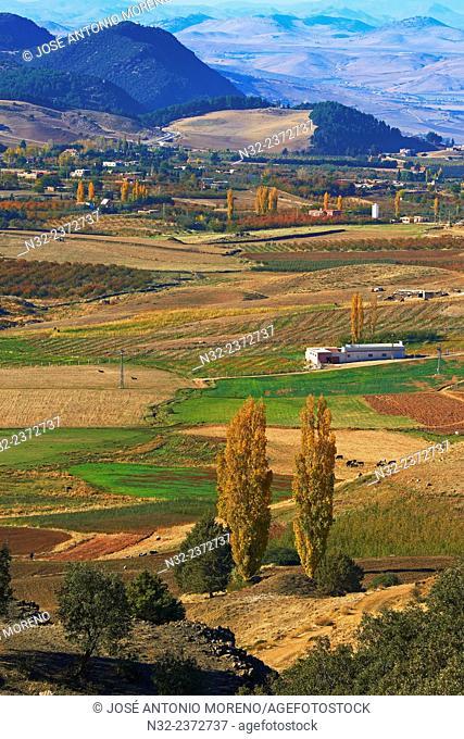 Azrou Valley, Autumn Landscape, Azrou, Middle Atlas, Morocco, North Africa