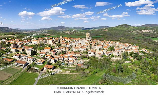 France, Puy de Dome, Montpeyroux, labeled The Most Beautiful Villages of France (aerial view)