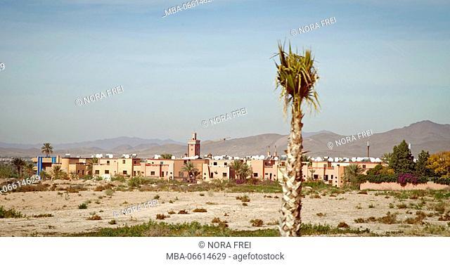 Desert, houses, scenery, Morocco