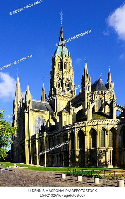 Bayeux Cathedral Catholic Church France Normandy FR Europe Norman Romanesque Gothic
