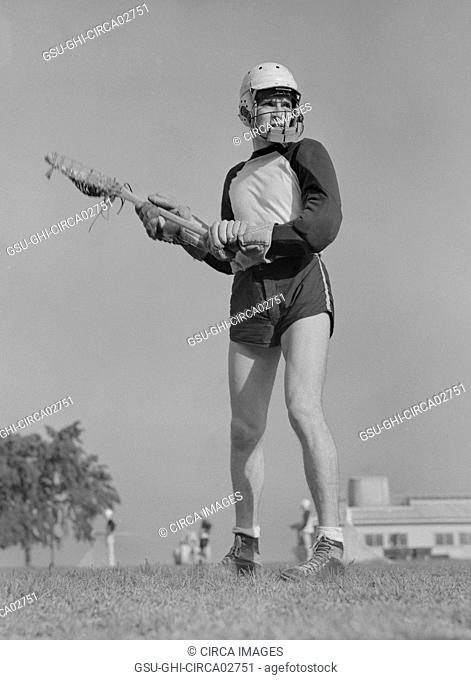 Lacrosse Player, U.S. Naval Academy, Annapolis, Maryland, USA, by Lieutenant Whitman for Office of War Information, July 1942