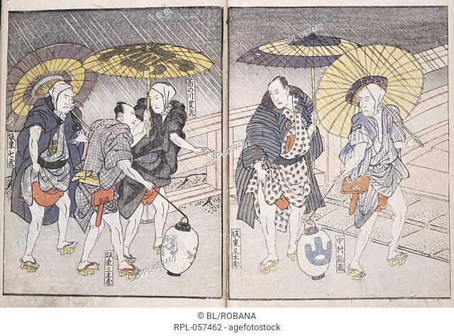 Actors in the rain. From 'Yakusha sangaikyo' a book showing actors enjoying themselves in the Pleasure Quarters of Edo. Woodblock colour printed