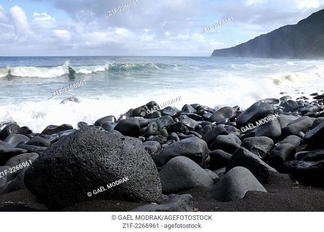 Black stones beach on Faial island, Azores, Portugal