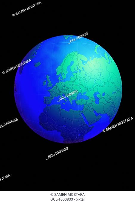 Europe and the Middle East on Globe