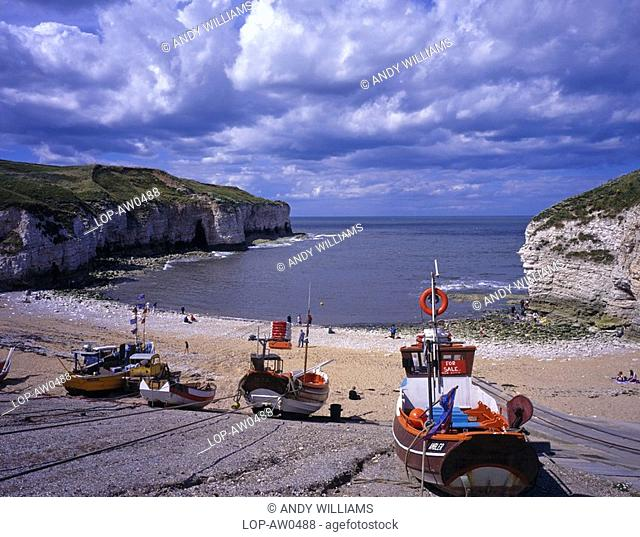 England, North Yorkshire, Flamborough Head, North Landing, a small bay near Flamborough Head