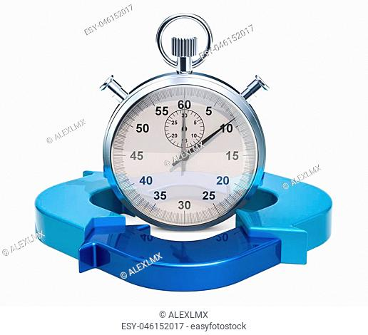Stopwatch with blue arrows. Time management concept, 3D rendering isolated on white background