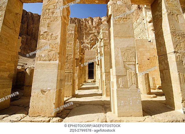 Carved pillars, Situated at third floor of the Mortuary Temple of Hatshepsut, Is an ancient funerary shrine, Dedicated to the sun god Amon