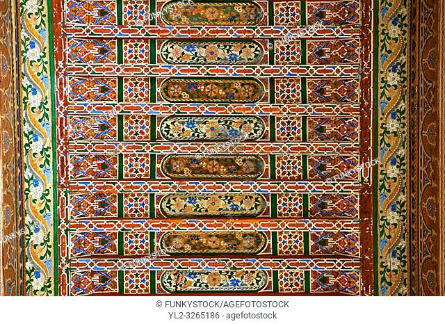 Berber arabesque painted wood ceiling. The Petite Court, Bahia Palace, Marrakesh, Morroco
