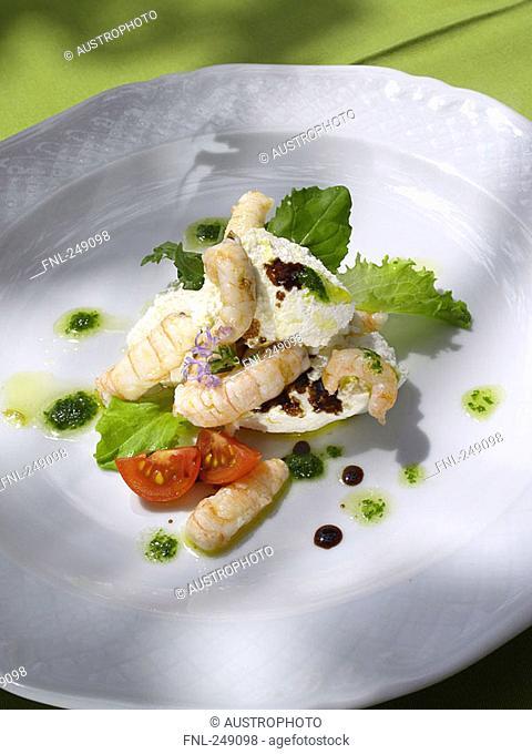 Close-up of shrimp appetizer on plate