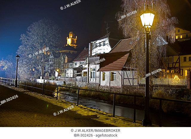 The smal City Lauterbach at night, Hesse, Germany