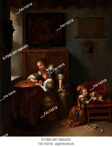 A Lady teaching a Child to read, and a Child playing with a Dog. Netscher, Caspar (1639-1684). Oil on wood. Baroque. 1670s