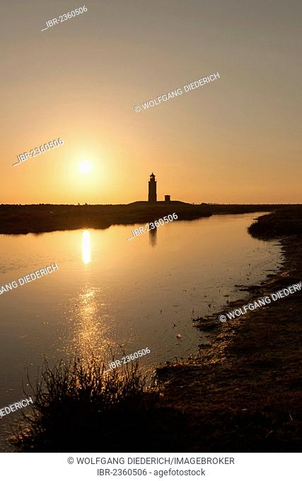 Lighthouse, small island of Langeness, North Frisia, Schleswig-Holstein, northern Germany, Germany, Europe