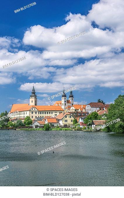 Strahov Monastery on lake, Prague, Central Bohemia, Czech Republic