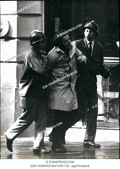 May 05, 1968 - Student Riots In Paris: The latin quarter in chaos yesterday as thousands of Paris students clashed with riot police. Photo shows