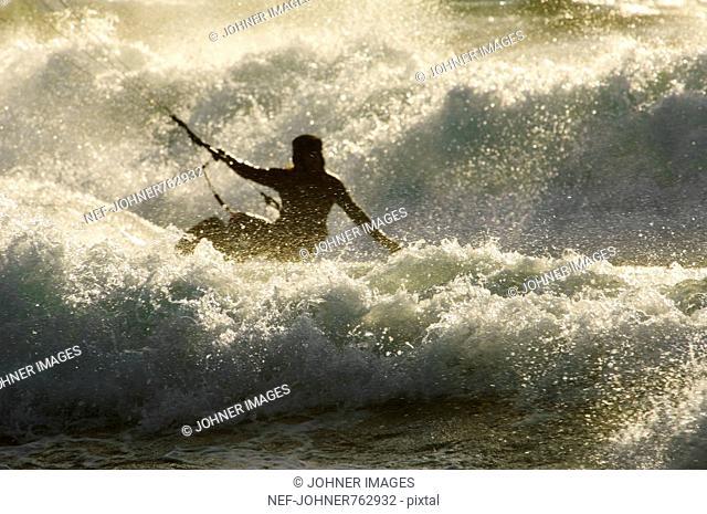 One person kite-surfing, Sweden