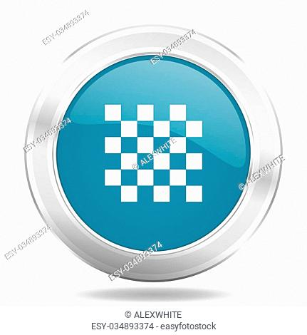 chess icon, blue round metallic glossy button, web and mobile app design illustration