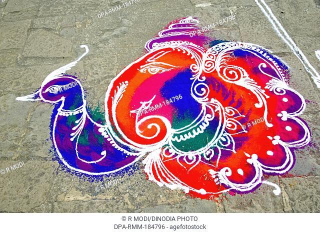 Lord Ganesh and Peacock Rangoli at Mumbai Maharashtra India
