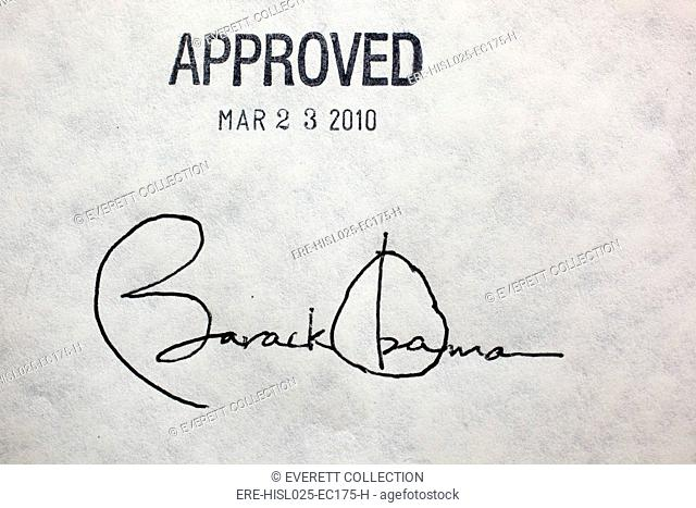 President Barack Obama's signature the health insurance reform bill was signed the bill with 22 different pens so critical supporters of the bill would have a...