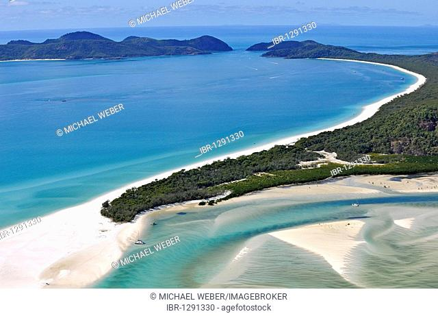 Aerial view of Whitehaven Beach, Whitsunday Island, right Hook Island, Whitsunday Islands National Park, Queensland, Australia