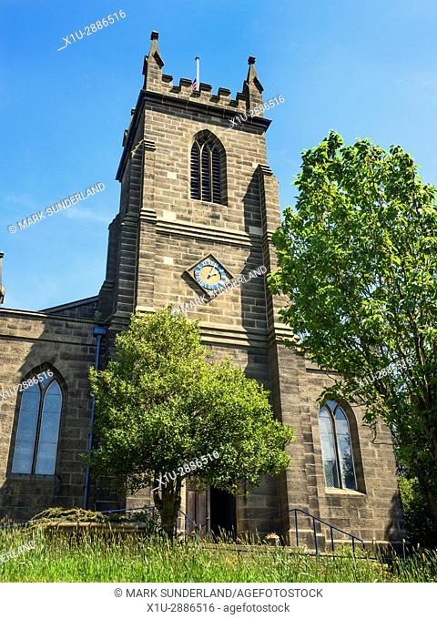 Clock Tower at St Cuthberts Church Pateley Bridge, North Yorkshire, England