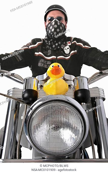 Harley Davidson-driver with motor bike and rubber duck