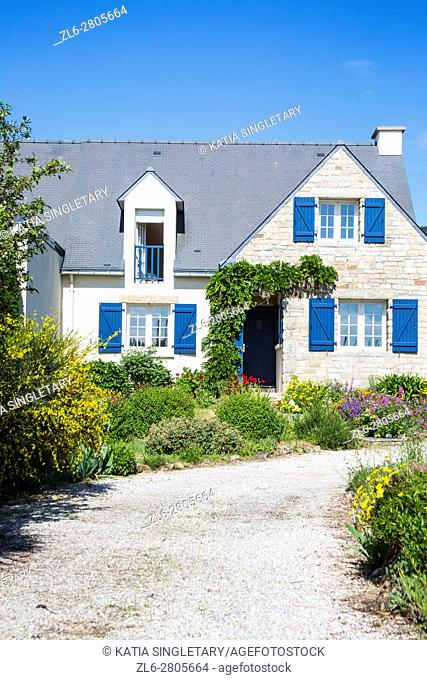 Typical blue brittany house made of stone and Gorgeous landscape France