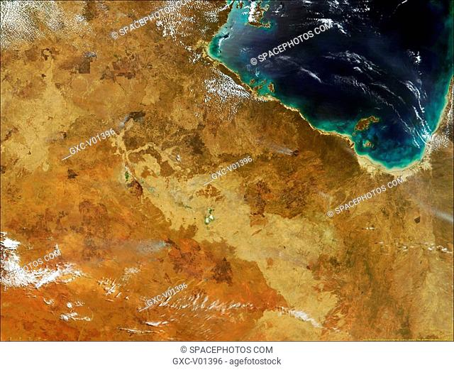 This recent image shows active fires red outlines in Northern Australia. These data were produced using the Active Fire Detection Product