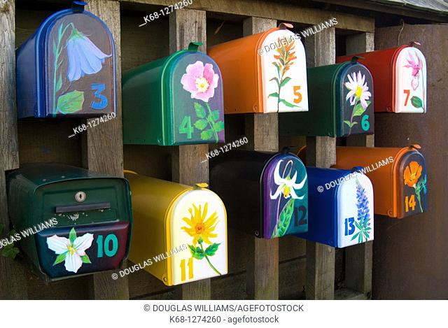 Colourful mailboxes on Granville Island, Vancouver, British Columbia, Canada