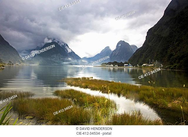 Tranquil lake and mountains, Milford Sound, South Island, New Zealand
