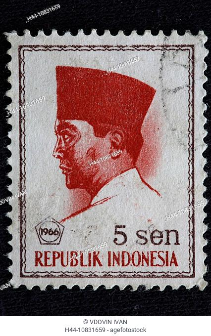 Sukarno, first President of Indonesia, postage stamp, Indonesia, 1966, Asia, asiatic, Policy, politician, Sukarno, Pre