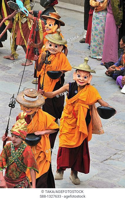 Chaam Musk Dance Festival in Hemis Buddhist highlander's tiny village in the mountain. Jammu and Kashmir, India