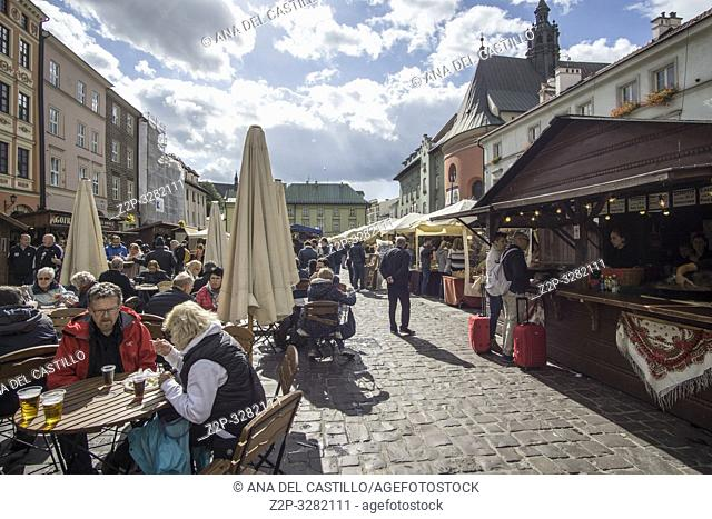 KRAKOW POLAND ON SEPTEMBER 24, 2018: Food stalls and market at Novy square