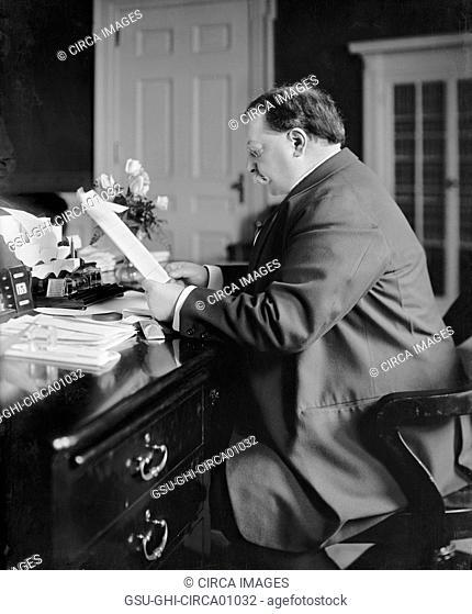 U.S. President William Howard Taft at Desk, Portrait, Washington DC, USA, circa 1910
