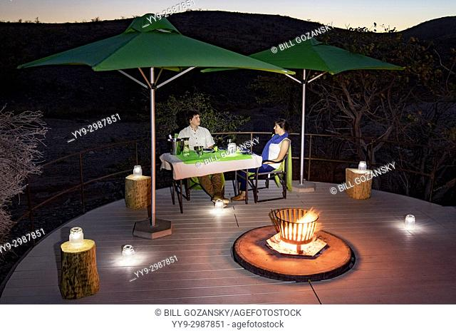 Romantic outdoor dining at Huab Under Canvas, Damaraland, Namibia, Africa