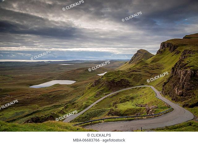 Quiraing, Skye, Scotland, during a cloudy day in summer