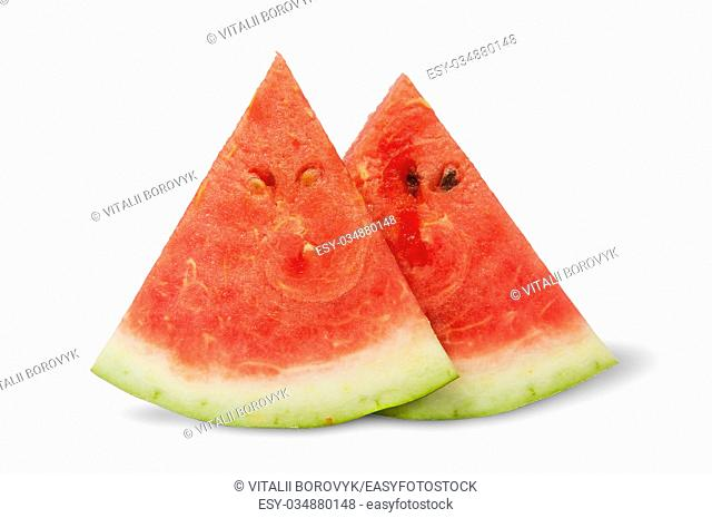 Two pieces of watermelon near isolated on white background