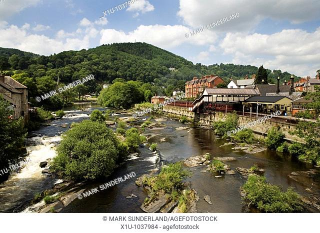 The River Dee and Llangollen Heritage Railway Station Llangollen Denbighshire North Wales