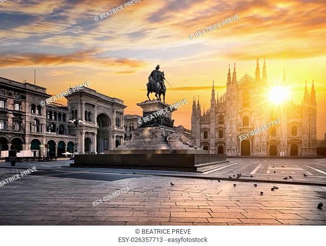 Duomo at sunrise, Milan, Europe