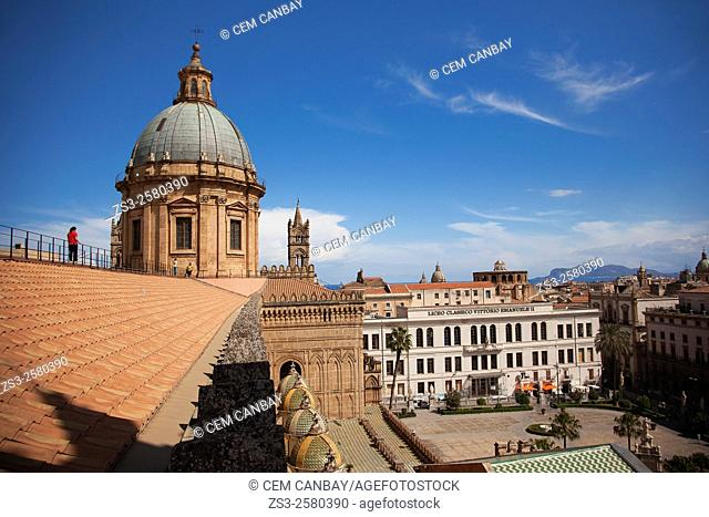 Visitors at the top of the Cathedral near the dome and the Liceo Classico Vittorio Emanuele II, Palermo, Sicily, Italy, Europe