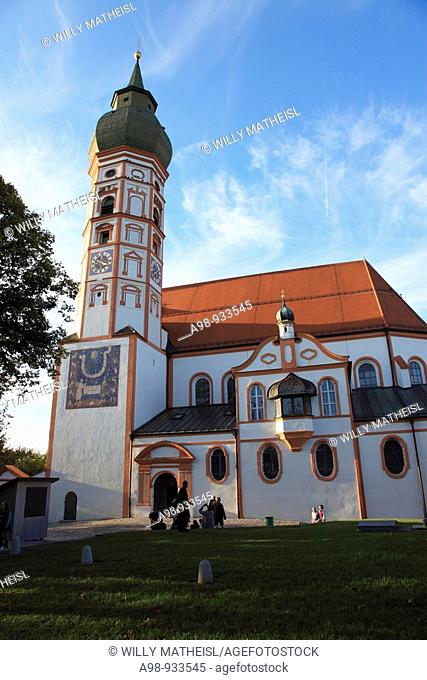 facade of church building Andechs Abbey, Fuenfseenland, Upper Bavaria, Germany, Europe