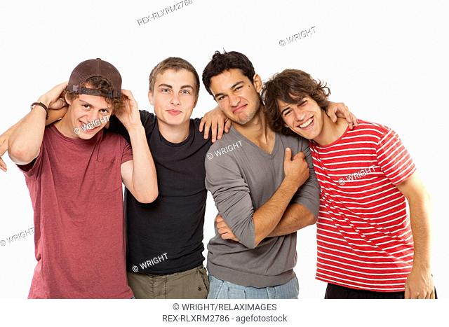 Teenagers four friends male boys fun group 4