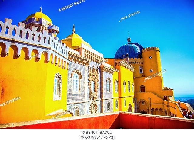 View of a facade of Pena National Palace, Sintra, Lisbon area, Portugal