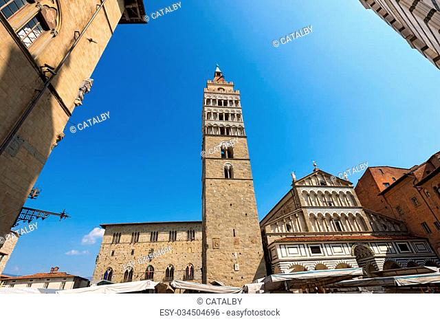 The Cathedral of San Zeno (St. Zeno) X century and town hall in Piazza Duomo (Cathedral square). Pistoia, Tuscany, Italy