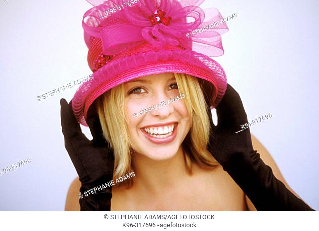 pink hat on beautiful and beautiful girl