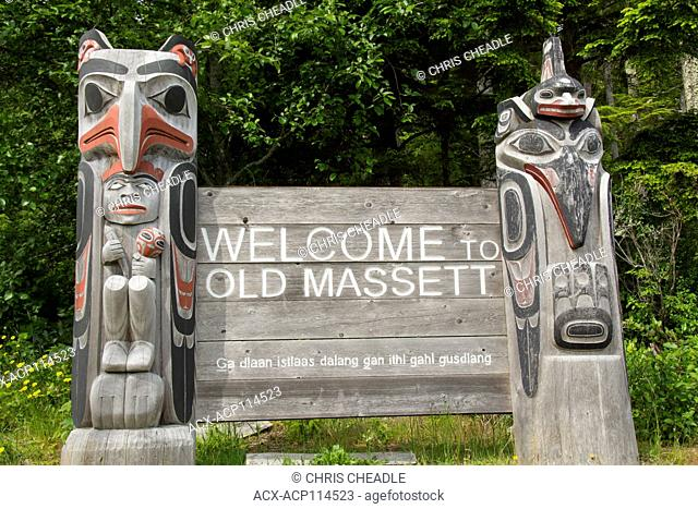 Welcome sign, Old Massett, Haida Gwaii, formerly known as Queen Charlotte Islands, British Columbia, Canada