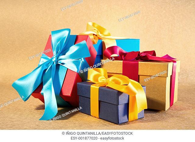 gift box with ribbon and bow at still life