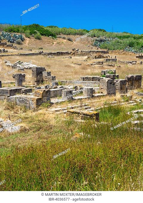 Ruins of the bathhouse of the Temple of Hera, Temple C and G of Zeus' wife Hera or Juno, Selinunte, Marinella, Sicily, Italy